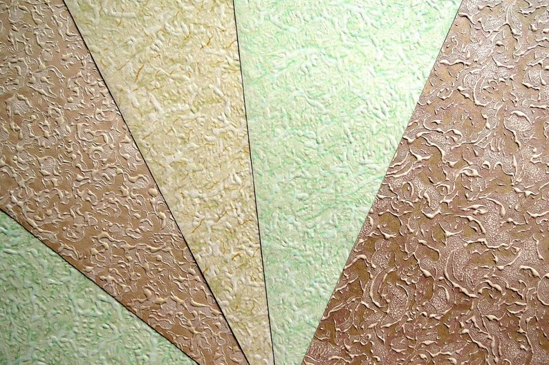 5 Sheets Of 1920 1930 Antique Vintage French POSHOIR GOUASHE WALLPAPER From Samples Book ScrapBooking DollHouse 30X21.8cm~ Tap24