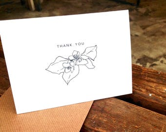 Botanical Drawing Flower Thank You Note Card