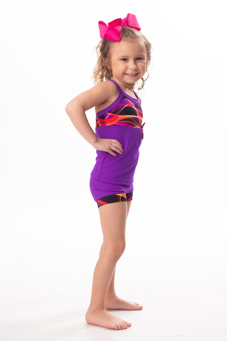 Dark purple with dance red ribbon bow accent tank and shorts