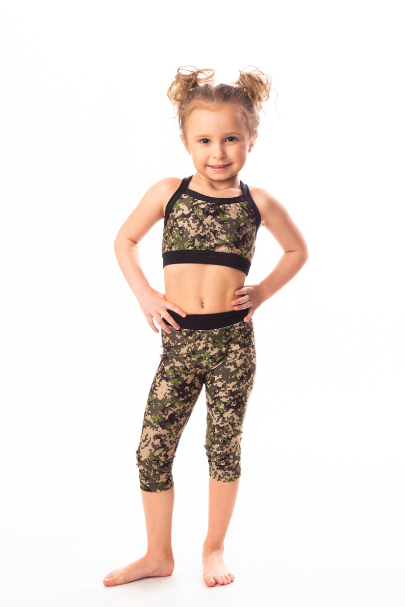 17ab81b6891 Digital Green camo cross back crop top with capri pants