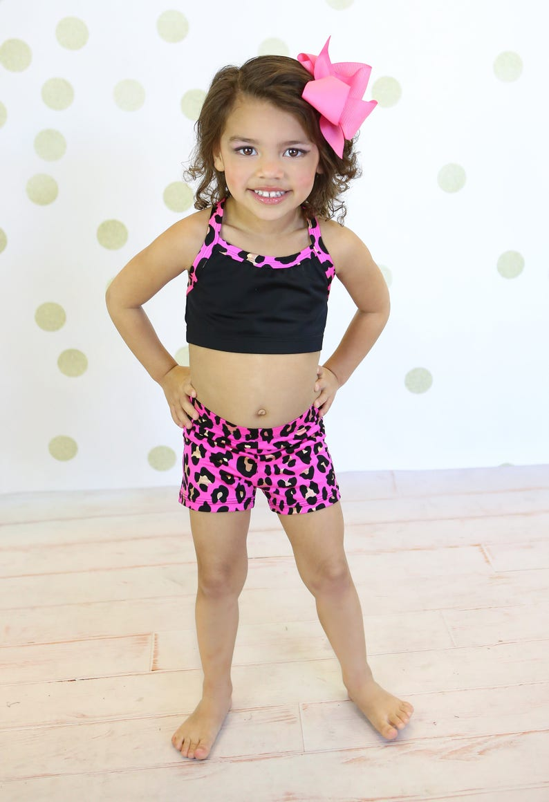 5f5b70ff96d Pink and black trim with gold crop top set with booty short