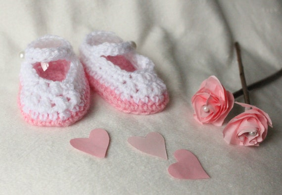 0-3 Months Baby Girls Hand Crochet Mary Jane Style Shoes With Bow