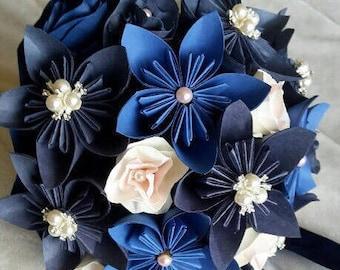 Paper flower Wedding Bouquet, Beautiful Handmade Paper Flowers, Bride/Bridesmaid Bouquet, Custom Order made in your own colour scheme