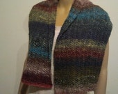 Colorful scarf made of a gradient yarn with silk, mohair, wool