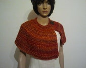 Knitted shawl collar orange brown