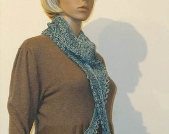 Tunisian crochet cotton scarf in shades of blue