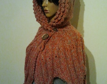 Hooded Cape in pink grey