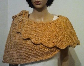 Tunisian crochet Cape in golden brown
