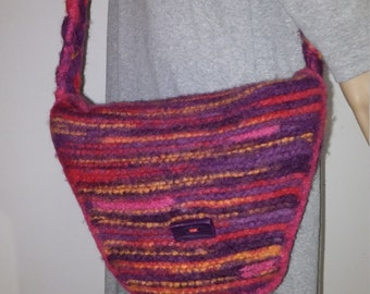 Drops felted bag in pink with purple and orange with braided straps