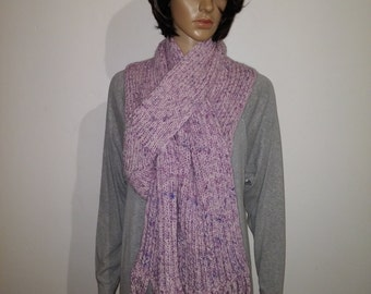 Purple wool scarf with fringe