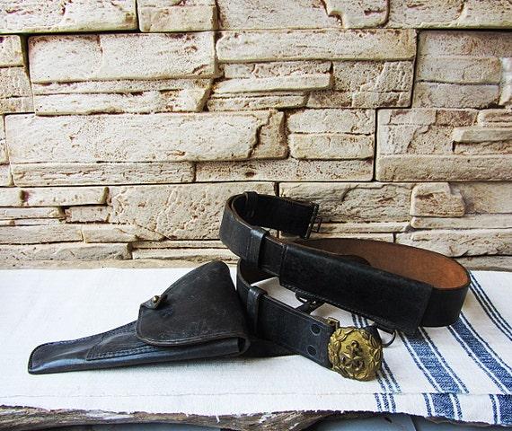 Vintage Military Belt with Gun Holster Naval Belt