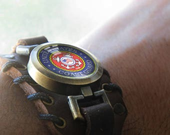 Military Bracelet with United States Coast Guard Pendant