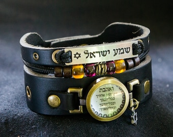 Adjustable Black Leather Cuff Bracelet with Jewish Hebrew Blessings - Shema Yisrael and Love the Lord