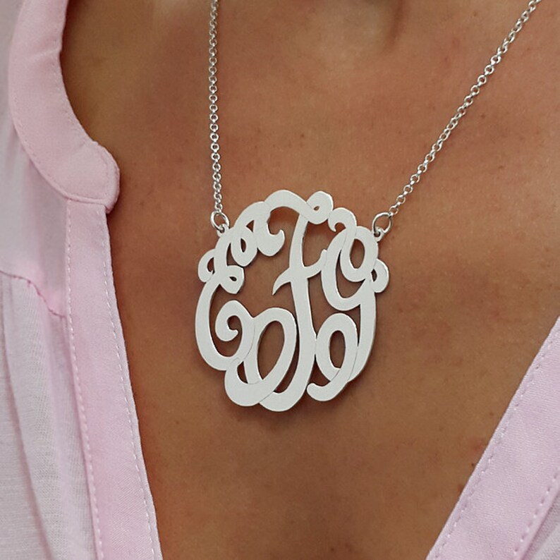 1.75 Monogrammed Gifts Christmas Gift Personalized gift Silver Monogram Necklace