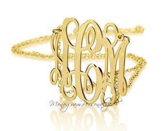 Monogram necklace - 1.5 inch Personalized Monogram - 18k Gold Plated over 925 silver