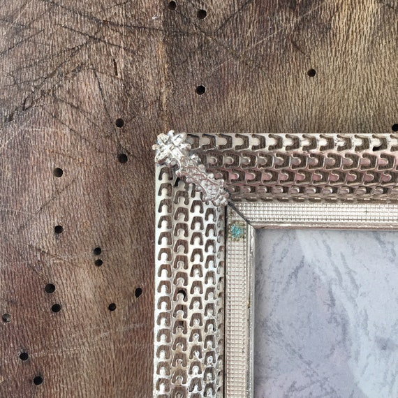 Photo picture frame Silver frame with convex glass French style wall 50s Frame size 8x6 inches Rustic frame Danish silver brass frame