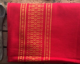 Red tablecloth, Christmas tablecloth, Wool tablecloth, Danish tablecloth, Holiday tablecloth, Danish folk red, Gold red linens, Gift idea