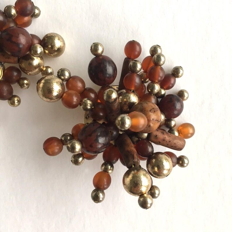 Gift for her Statement earrings Monies earrings Brown Jewellry Brown statement earrings 1980s disco fashion Gerda Lynggaard earrings