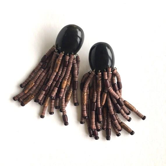 Monies earrings, Gerda Lynggaard earrings, Brown s