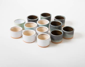 Expresso tumblers, Wabi Sabi cups, Sake small cups, Ceramics by Polli Pots, Rustic unique tumblers, Scandinavian HYGGE, Gift Handmade White