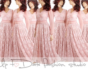 a9114fd71f4 Set of 7 long Bridesmaid lace dresses