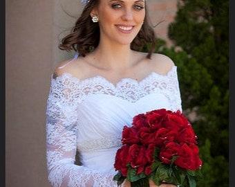 Bridal Off-Shoulder cover up/Lace wedding shrug/ jacket /bridal lace top/bolero with sleeve/wrap/bridal topper/