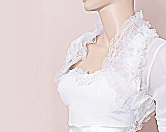 Bridal tulle lace cover up/ wedding bolero/ bridal shrug/wedding jacket with sleeve/tulle wrap/wrap/