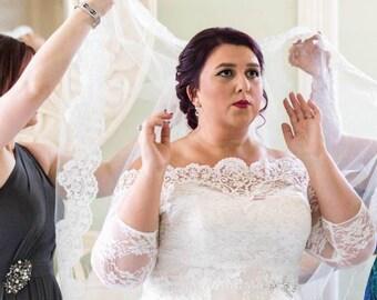 bfa07f255397d Plus Size Off-Shoulder wedding shrug, Lace bridal jacket , custom made  bridal cover up, bolero