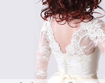 Wedding lace topper/ wedding bolero/ shrug/bridal lace cover up  deep-v in back/topper/shrug wrap/lace jacket