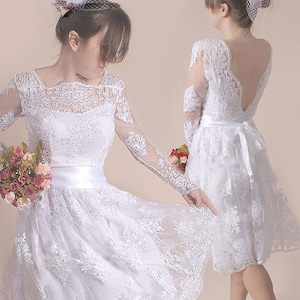 Plus Size wedding party dress open back  romantic dress beach weddingcustom made short lace bridal gown with sleeve