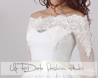 Bridal lace bolero  Off-Shoulder /French Lace/wedding jacket/ shrug/  jacket /bridal lace top
