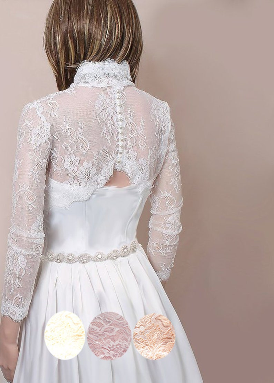 ada29310de1 Plus size Bridal shrug lace wedding jacket off white