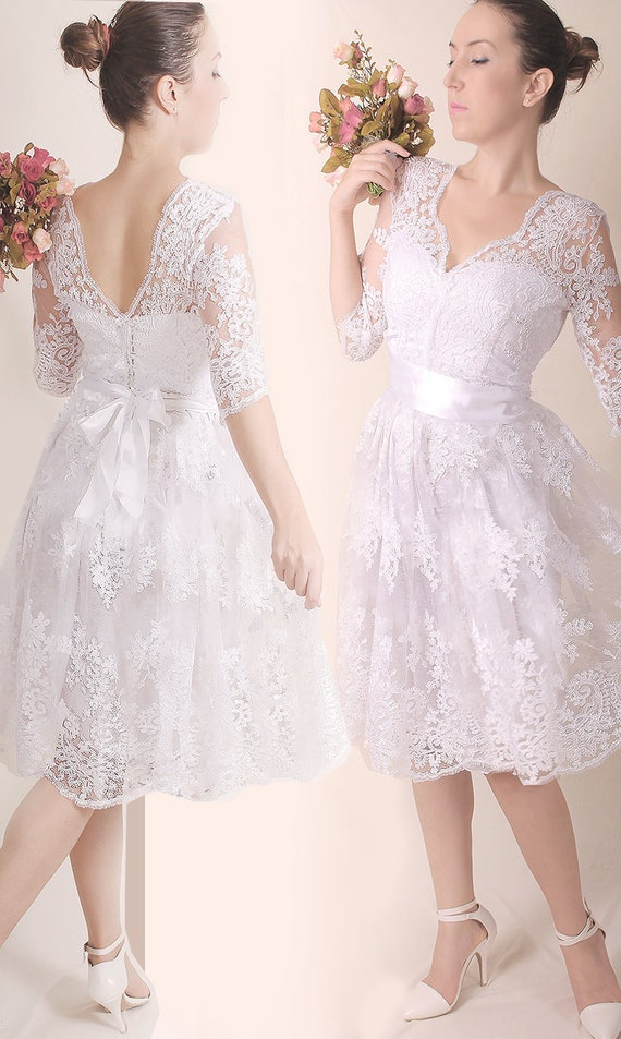 Plus Size wedding lace short dress with sleeve, wedding party Bridal Gown,  CUSTOM MADE romantic dress