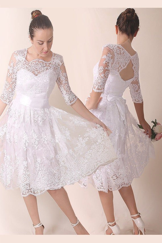 Lace Short Plus Size Bridal Gown Romantic Wedding Party Etsy
