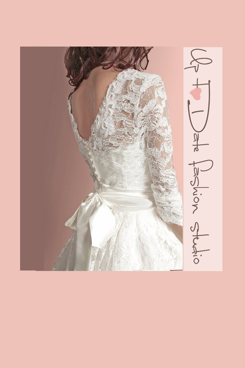 Plus Size Lace Wedding Dress Open Back Dress Short Bridal Gown Simple Wedding Dress With Sleeve