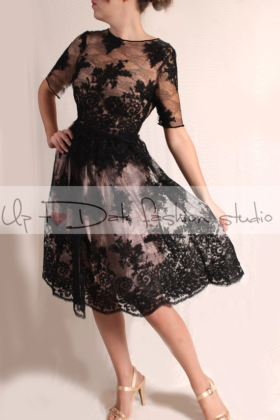 Wedding Party Short Lace Dress Black Bridal Gown Knee Length Etsy
