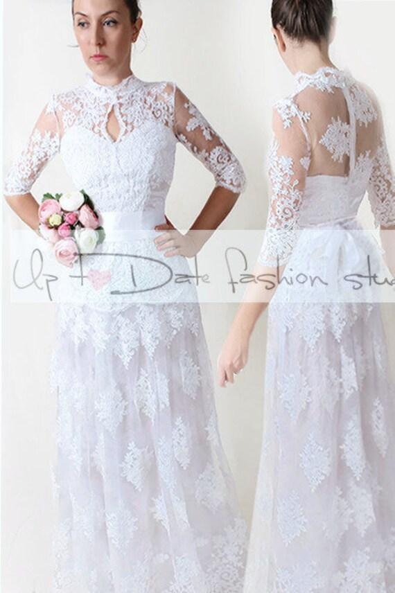 Plus Size Maxi Wedding Party Dress Bridal Lace Gown Floor Etsy