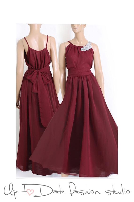 Bridesmaid Chiffon Maxi Dress Burgundy Color Floor Length Wedding Party Evening Wedding Guest Dress