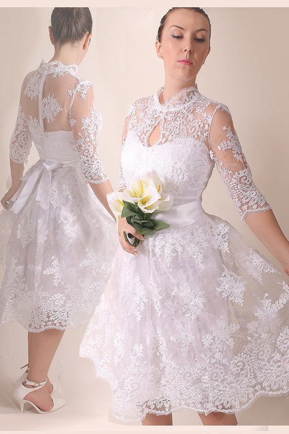 Plus size lace short BRIDAL gown, royal elegant style white dress with  sleeve, wedding party dress