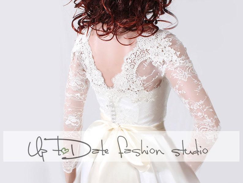 028ecf0bb14 Plus Size Wedding lace bolero wedding topper deep-v in back