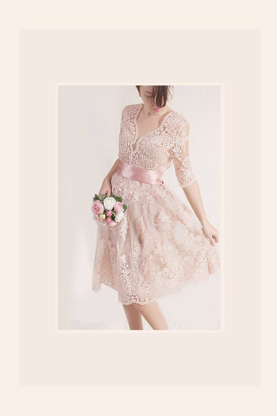 Plus Size Lace short dress / blush pink wedding party gown / bridal gown  dress with sleeves /romantic dress/beach wedding