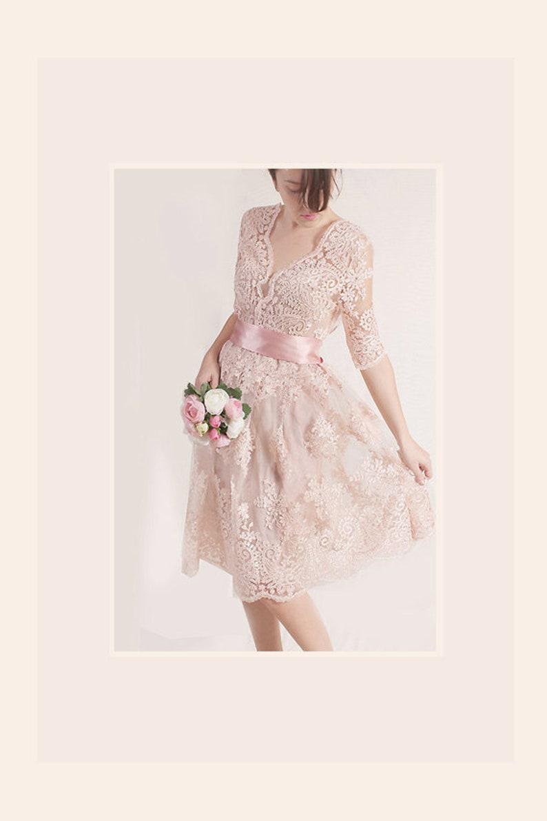 Plus Size Lace short dress / blush pink wedding party gown / | Etsy