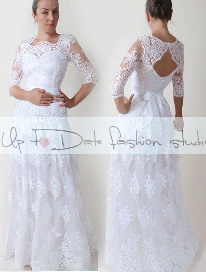 Lace Plus Size floor length wedding party dress custom made   Etsy