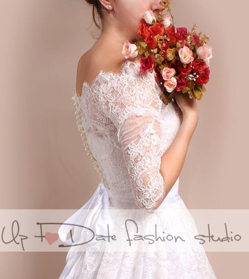 Plus Size wedding lace bolero , Bridal Off-Shoulder lace shrug with 3/4  sleeves,bridal jacket,wrap