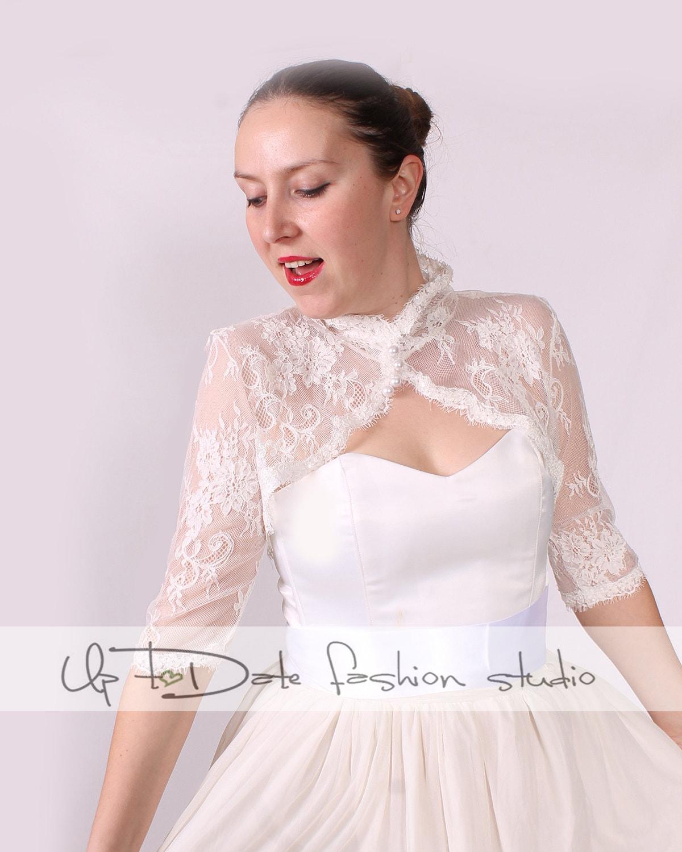 Plus size Bridal cover up off white lace shrug lace jacket | Etsy