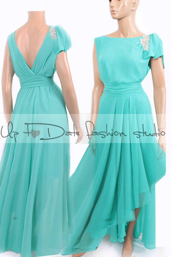 Plus Size Maxi chiffon MINT floor length bridesmaid dress,evening party  dress,formal event dress