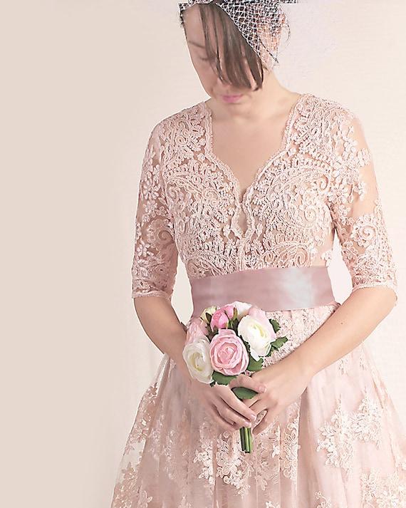 Plus Size Lace Short Dress Blush Pink Wedding Party Gown Etsy
