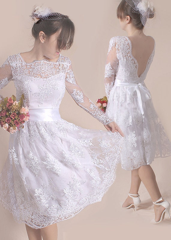 Plus Size wedding party dress, short lace bridal gown with sleeve , open  back romantic dress , beach wedding/custom made
