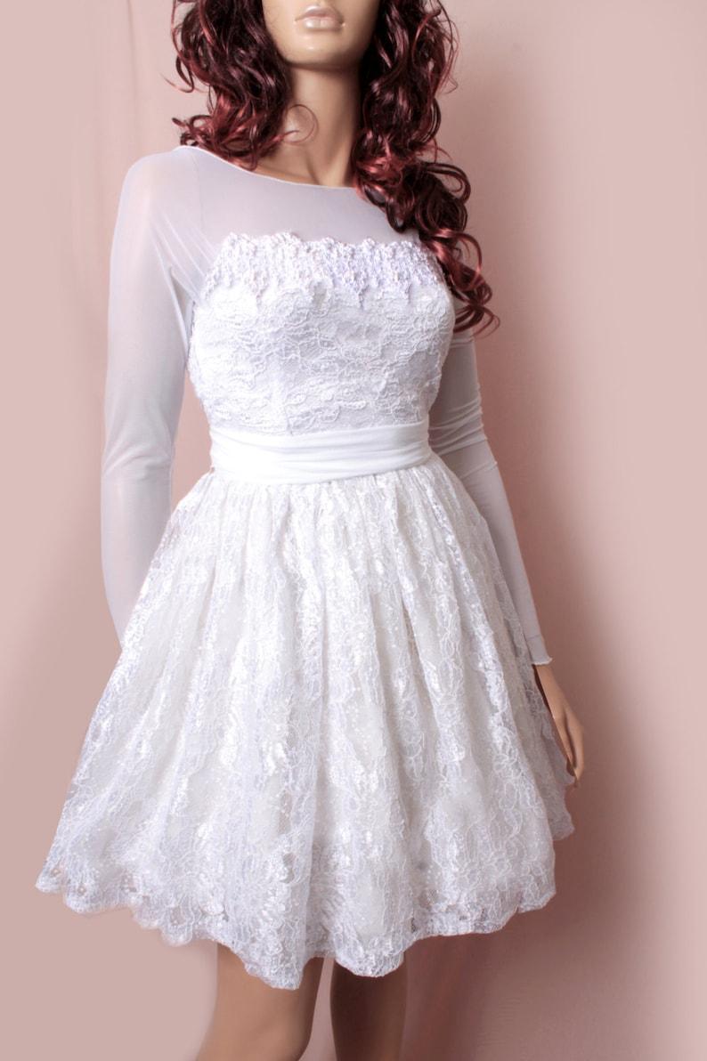 Plus Size Short Embroidery Lace wedding dress long Sleeve | Etsy