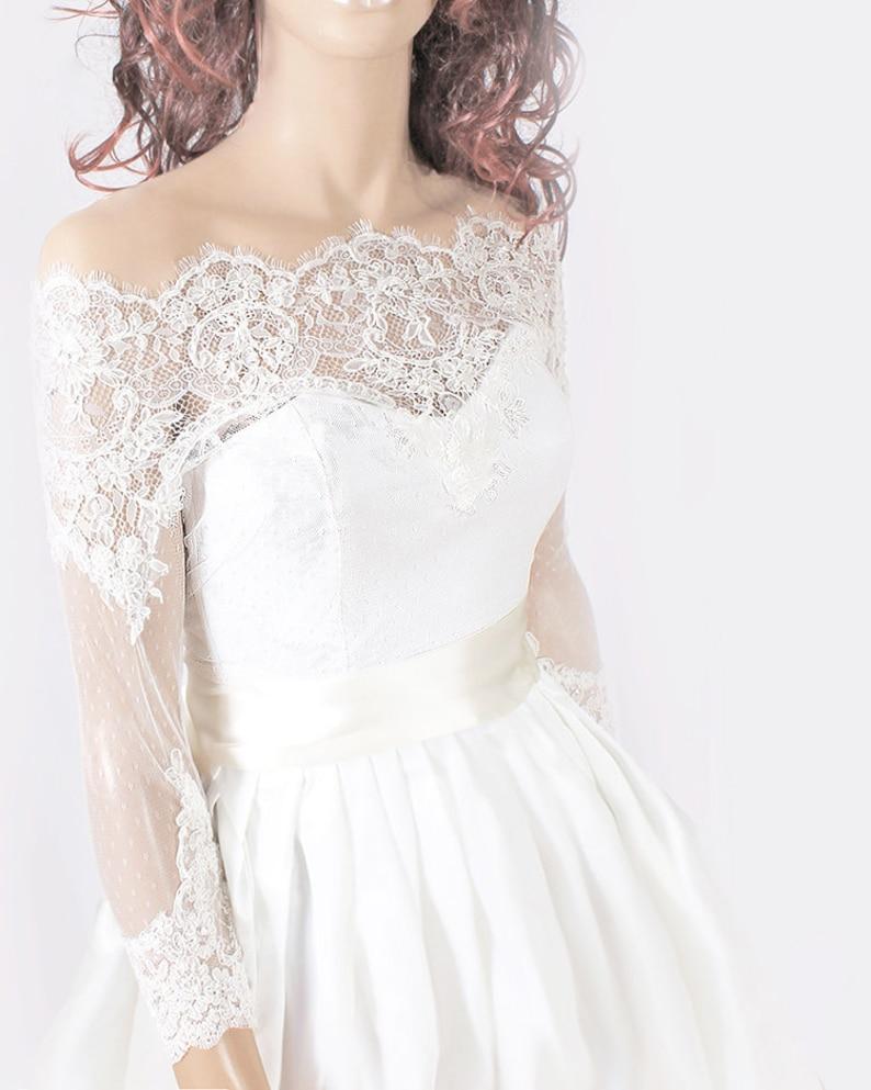 b12f27ae11e Plus Size lace wedding bolero Bridal Off-Shoulder jacket